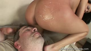 Forced Bisexual Cuckold Hubby Sucks Cock, Eats Cumload & Gets Strapon Fucked by Wife